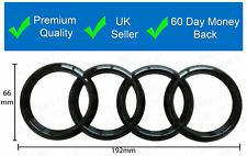 AUDI GLOSS BLACK REAR BLACK RINGS BADGE LETTERS BOOT 193x68mm
