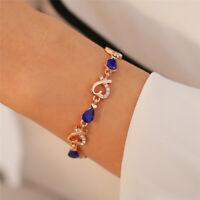 Fashion Gold Plated Love Heart Crystal Rhinestone Women Bracelet Bangle Chain
