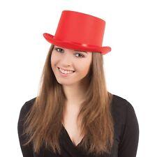 SHOWBIZ GLAMOUR RED SATIN TOP HAT Mens Ladies Unisex Fancy Dress Accessory