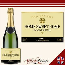 Personalised Champagne Label Gold New Home Bottle Sticker House Warming Gift