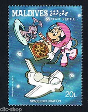 WALT DISNEY 1 FRANCOBOLLO MALDIVES SPAZIO SPACE EXPLORATION 1987 nuovo