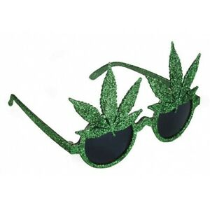 GLITTER POT LEAF SUNGLASSES Funny Glasses Marijuana Green Reefer Plastic Party