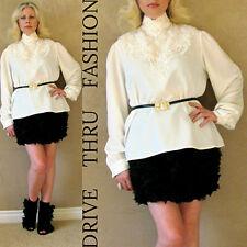 Vtg 70s Buttenburg Crochet Lace Victorian Antique White SHEER Blouson Dress TOP