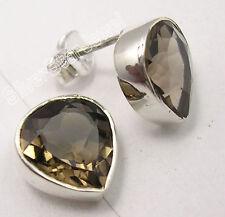 "925 PURE Silver BROWN SMOKY QUARTZ HEART Studs Post Earrings 0.4"" ASTONISHING"
