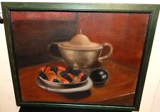AUDREY PIELL OIL CANVAS STILL LIFE CLAIMS AND CRAWFISH PAINTING