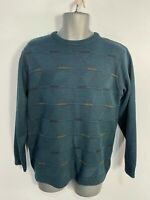 MENS BHS SMALL TEAL GREEN LONG SLEEVED ROUND NECK CASUAL PULLOVER SWEATER JUMPER