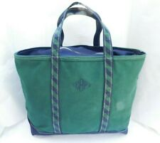 Vintage LL BEAN CANVAS BOAT AND TOTE BAG Freeport Maine Navy GREEN & BLUE