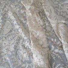 "Antique Ecru TAMBOUR LACE 20"" Wide Flounce Needlerun MEDALLIONS Scrolls Flowers"
