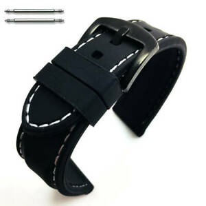 Black Rubber Silicone Replacement Watch Band Strap Buckle White Stitching #4004