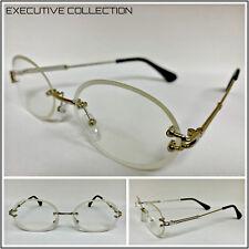 bfab6874a16 Men Classy Elegant LUXURY Style Oval Clear Lens EYE GLASSES Silver Rimless  Frame
