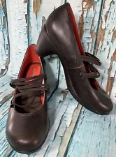 Womens Merrell Size 10 Coffee Brown Round Toe Heel Shoes W/ Elastic Straps Pump