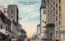 c.1910 Stores Hogan St. looking North Jacksonville FL post card