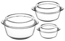 Mason Cash Set of 3 Glass Lidded Casserole Dishes Oven Roasting Dishes With Lid