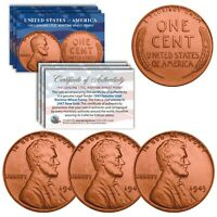 1943 Genuine Steel WWII Lincoln Wheat Penny Coin Genuine ROSE GOLD Plated QTY 3