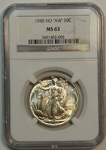 1945 FS-901  Walking Liberty Half - NGC MS63 – Missing Designer Initials