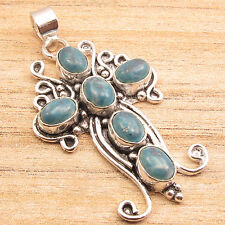 925 Silver Overlay Simulated LARIMAR 6 Gemstone Pendant 5.1 cm Gifts For Women
