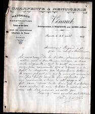 """MAGNETTE prés AUDES (03) MENUISERIE & CHARPENTE """"P. VENUAT"""" en 1912"""