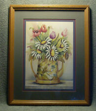 "HOME INTERIORS: FRANKIE BUCKLEY ""FLOWERS/HUMMING BIRD WATER CAN"" FRAMED/ MATTED"