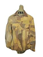 Patchwork Womens Coat Vintage Leather Large Suede Brown