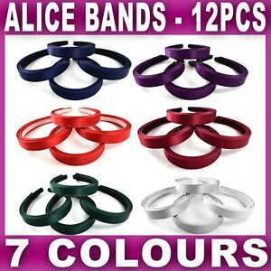 12x SATIN ALICE BAND headband head hair bands aliceband alicebands Womens Girls