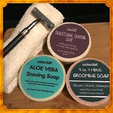 3 Pack Of Mens & Womens Shaving Soap With  Cotton Wash Cloth.
