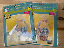 """2 Easter Basket Shrink Wrap 24"""" X 30"""" 4 Accent Ribbons Baskets Both Clear"""