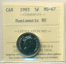 1993 Canada 5 Cent Certified ICCS MS-67, NBU. Very Affordable for New Hobbyist