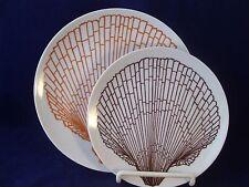 Vintage Fitz & Floyd Sea Shell 2 Plates Salad Dessert Bread 'n Butter Monotone