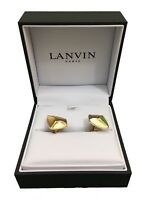 Lanvin Cufflinks Paris Pinched Stone - Gold - RRP £140 - Brand New