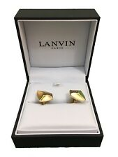 Lanvin Paris Pinched Stone Cufflinks - Gold - RRP £140 - New
