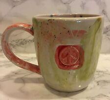 Peace Sign Tie Dye Pottery Ceramic Mug LARGE Hippie Sixties Rainbow