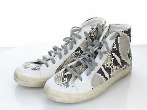 P29 $298 Women's Size 37 EU P448 Star High Top Sneakers in Snakeskin Print