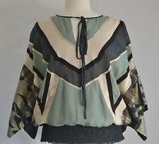 VINEET BAHL Orissa Kimono Sleeve Multi-Fabric Boho Blouse ANTHROPOLOGIE Medium