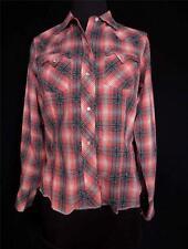 VINTAGE 597ms Cuadros Vaquero blusa del algodón blanco Oscuras PERLA a presión
