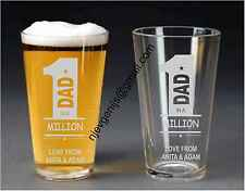 Personalised Engraved 1 In A Million Dad Pint Glass Birthday Party by jevge 14