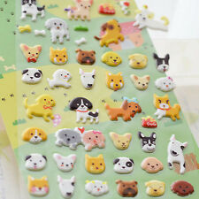 1 x dog puppy flower grass bone yellow brown lovely cute stickers scrapbook #157