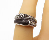 925 Sterling Silver - Vintage Black Onyx & Marcasite Band Ring Sz 6 - R16346