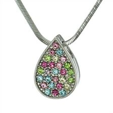 Tear Drop Necklace Made With Swarovski Crystal Multicolor Pendant Gift Jewelry