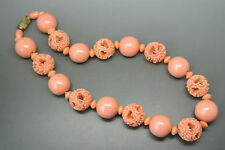 Vintage French art deco 50s carved salmon coral celluloid Beaded Necklace
