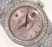 Rolex Datejust 1601 Stainless Steel 36mm-Pink Diamond Dial-1.6CT Diamond Bezel