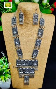 ASIAN Silver Oxidised Ethnic Tribal Costume NECKLACE with EARRINGS JEWELLERY