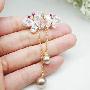 Gold Tone Butterfly Flower Pearl Brooch Pin Bride Rhinestones Crystal Wedding