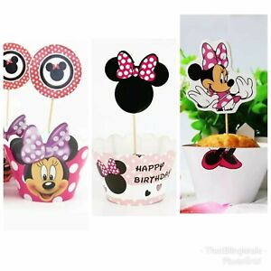 12 SET DISNEY MICKEY MOUSE 2 PIECE CUPCAKE WRAPPERS /& TOPPERS PARTY SUPPLIES