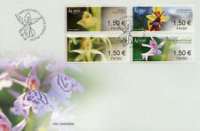 Aland 2018 FDC Orchids Franking Labels 4v S/A Set Cover Flora Flowers Stamps
