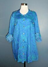 NEW JACLYN SMITH Women's 3X Button Up Utility Shirt Blue Purple NWT $26.99