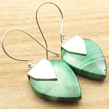 Dare To Dazzle With This Shiny MALACHITE Gemstone ! 925 Silver Plated Earrings