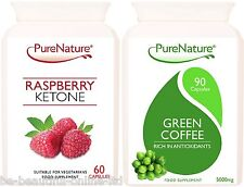 60 Raspberry Ketone 2000mg & 90 Green Coffee Bean 15000mg Weight Loss Diet Pills