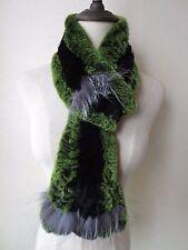 Warm Fashion soft/Real rex rabbit fur silver fox closely woven scarf/green black
