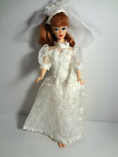 Vintage Barbie Doll Clothes Wedding Gown White Lace N Satin Headband Veil N Hat