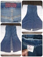 🌈 Hot Kiss Sz 7 Denim Skirt Mermaid Flare Trumpet Long Sexy Fitted Slit Maxi EC